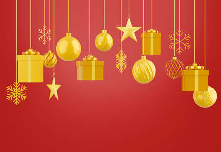 set of object decorative christmas isolated on red background,3d render