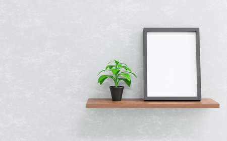Shelves with black frame and ornamental plants on vase isolated on cement background, 3D render