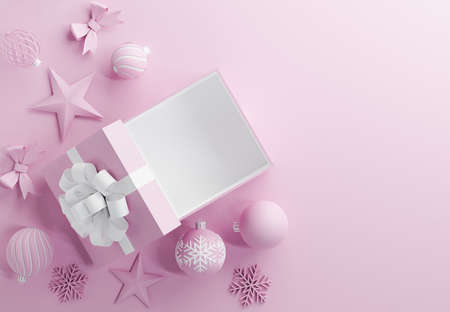 set of object decorative christmas isolated on pink background,3d render
