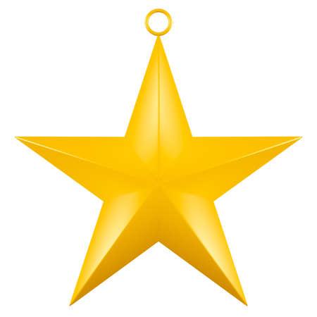 Golden Christmas Star isolated on white Background.