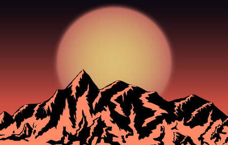 mountains design with sunset background. Vector illustration
