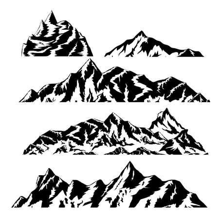 hand drawn mountains silhouettes for high mountain icon, vector illustration