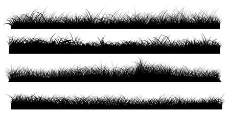 Set of grass border silhouettes, banners of grassland meadow, vector illustrator Ilustração