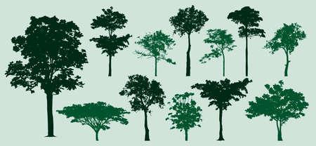 set of trees silhouette, retro images nature, vector illustration Ilustração