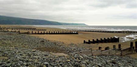 Pebble beach overlooking Snowdonia Wales