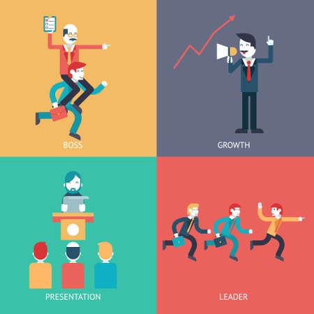 entrepreneur: Business leadership character scenes concept icons set modern trendy flat