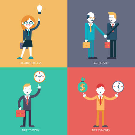 Businessman character concept icons set modern trendy flat  Vector