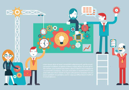 Gears Company Team Infographic werk Zakenman directeur Zakenvrouw Designer Programmeur Geek Hipster karakter begrip pictogrammen instellen moderne trendy flat Stock Illustratie