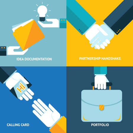 documentation: Idea documentation calling card portfolio partnership handshake business concept icons set modern trendy flat design