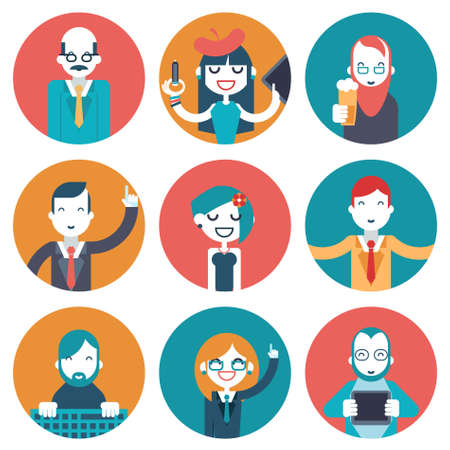 specialities: Male and Female Avatars Businessman Director Businesswoman Designer Programmer Geek Hipster character concept icons set modern trendy flat vector illustration