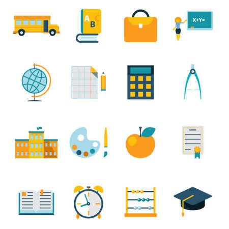 School isolated icons set modern trendy flat vector illustration Vector
