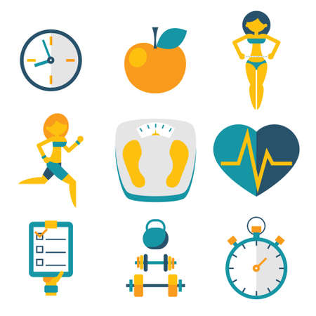 Sport Fitness and Health isolated icons set modern trendy flat vector illustration Ilustrace