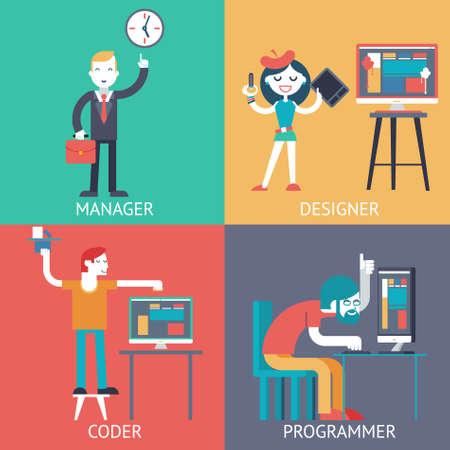 coder: Web development team programming Businessman managerprogrammer coder designer planning сoncept icons set modern trendy flat vector illustration