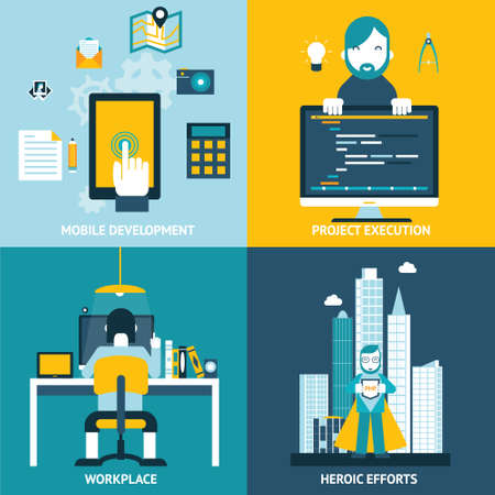Web development studio workplace concept and web page programming and coding programmer character with workflow objects icons set modern trendy flat design vector illustration