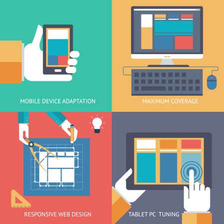 oncept: Responsive web design cross browser compatibility development programming PC mobile phone device hands idea planning сoncept icons set modern trendy flat vector illustration
