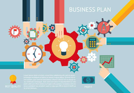new strategy: Business plan gears company team infographic work