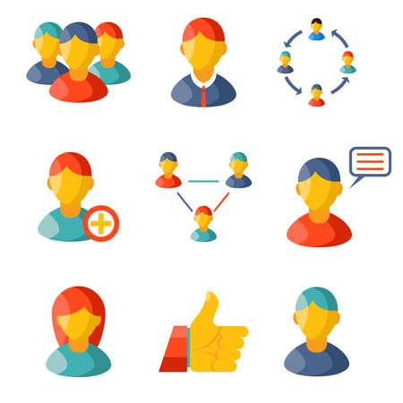 Flat communication business information media web icons set Vector