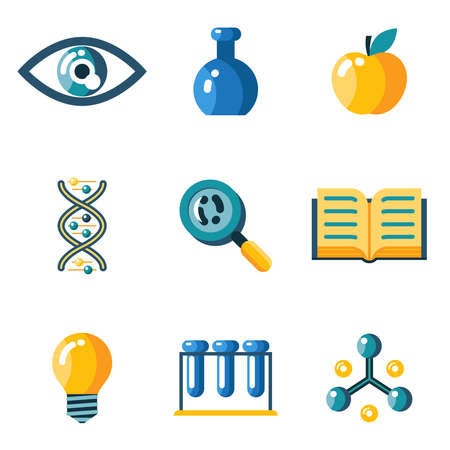 eye doctor: Flat science education research study web icons set isolated silhouettes flat vector illustration