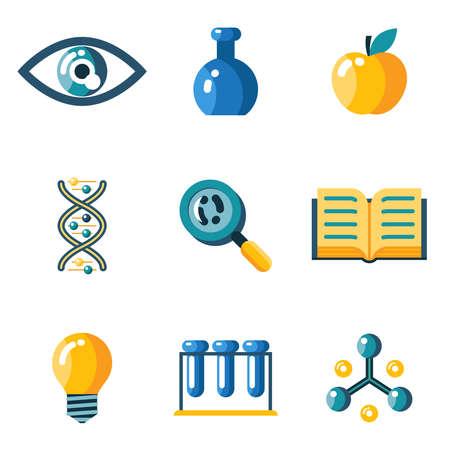 balanza de laboratorio: Iconos de la web del estudio de investigación de educación científica Flat establecen siluetas aislados ilustración vectorial plana Vectores