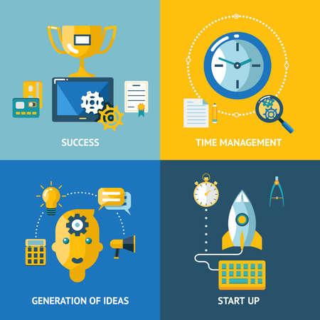 Generation of ideas start up time management success business concept icons set modern trendy flat design vector illustration Vector