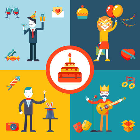 present presentation: Gift, Party, Birthday Businessman character concept icons set modern trendy flat vector illustration
