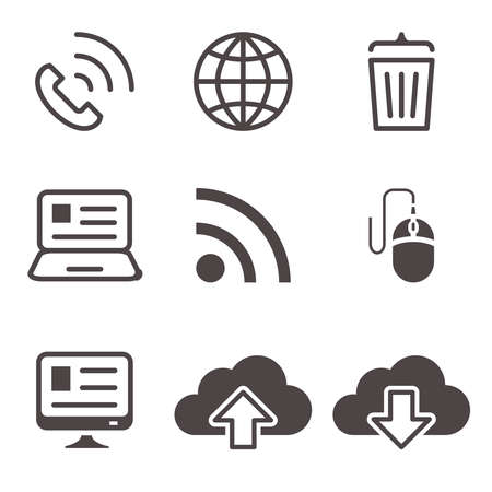 Internet network communication mobile devices icons set illustration Illustration
