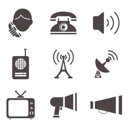 Communication business information media web icons set isolated silhouettes flat vector illustration Vector