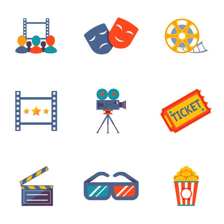 Cinema and Movie flat icon set modern trendy vector illustration