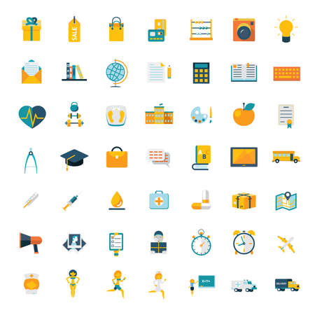 chain food: Flat icons big set travel marketing hipster science education business money shopping objects health delivery vector illustration