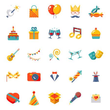 corona navidad: Iconos aislados de moda modernas planas set de regalo, fiesta, ilustración vectorial cumpleaños