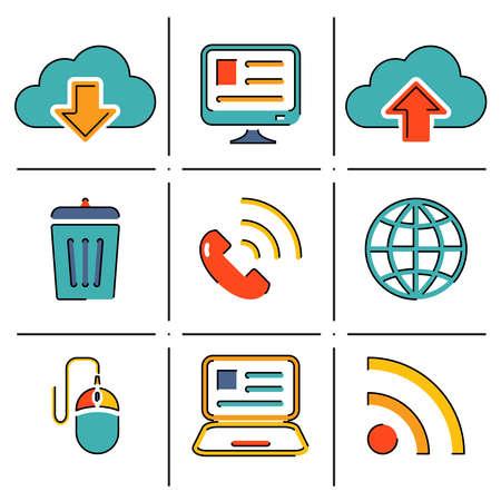 Internet network communication mobile devices line icons set vector illustration Illustration