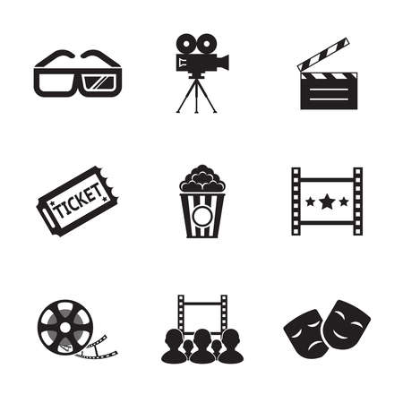 pg: Cinema and Movie icon set modern trendy silhouette isolated vector illustration