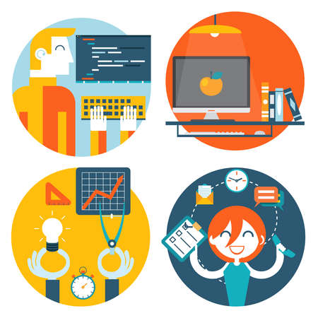 web studio workplace concept internet page programming  Vector