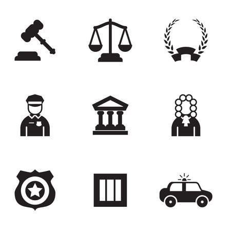Law vector icons modern set