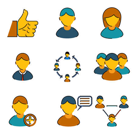 Human resources management business line icons set users people vector illustration Vector