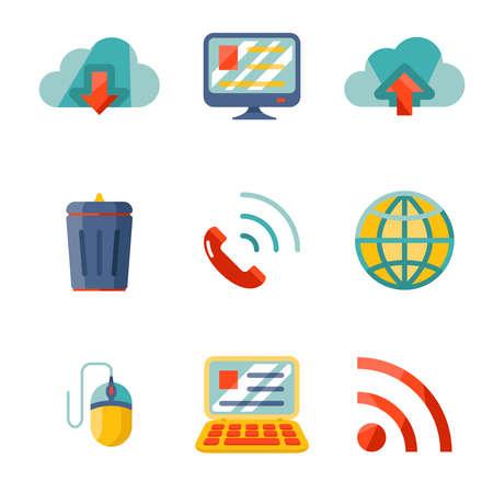 chatbox: Modern flat design Internet network communication mobile devices icons set vector illustration