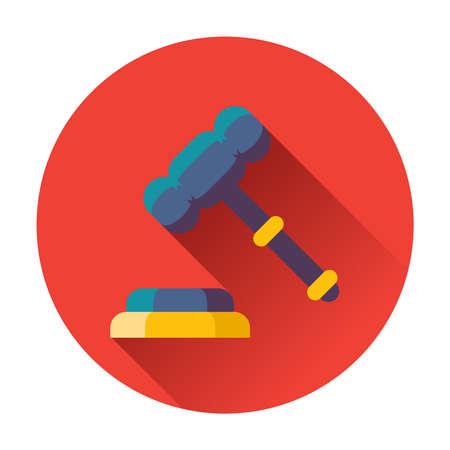judicial system: martillo con soporte icono plana