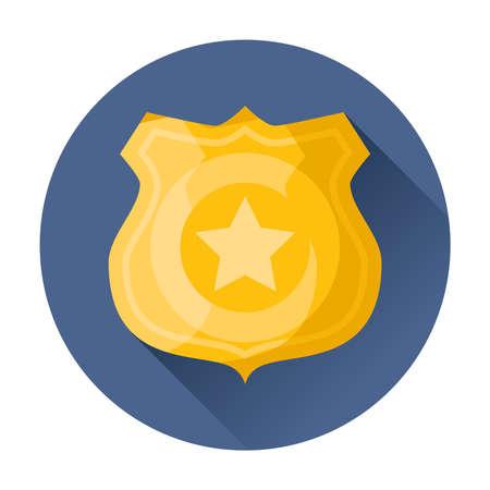Distintivo della polizia icona illustrazione vettoriale Archivio Fotografico - 33521891