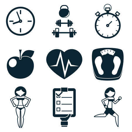 crossbar: Sport Fitness and Health isolated icons set vector illustration