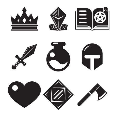 Fantasy game iconen plat vector illustratie trendy Stock Illustratie