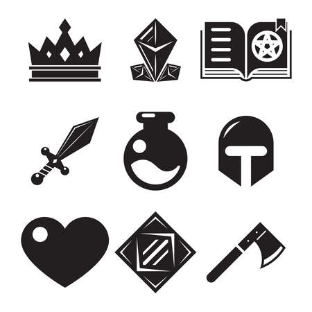 role: Fantasy game icons flat vector illustration trendy