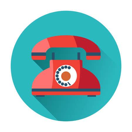 telephone: rétro icône du téléphone branché illustration plat