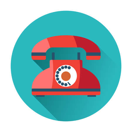 landline: retro phone icon trendy flat illustration