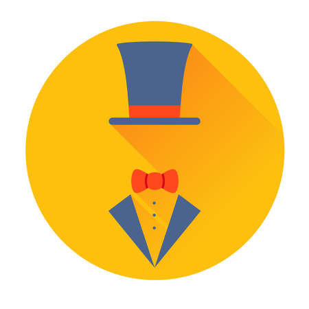 dressy: cylinder hat with butterfly icon vector flat