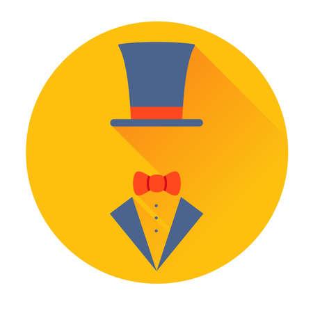 dressy: sombrero del cilindro con el icono de mariposa plana vector Vectores