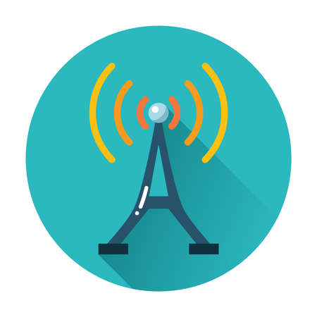 radio tower: radio tower icon trendy vector flat illustration Illustration