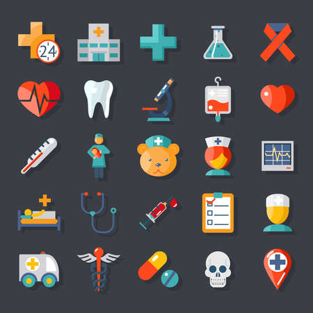 health care research: Health and medical care icons flat set Illustration