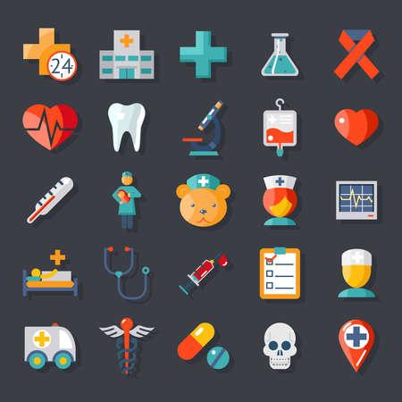 chăm sóc sức khỏe: Y tế và chăm sóc y tế các biểu tượng thiết lập phẳng Hình minh hoạ