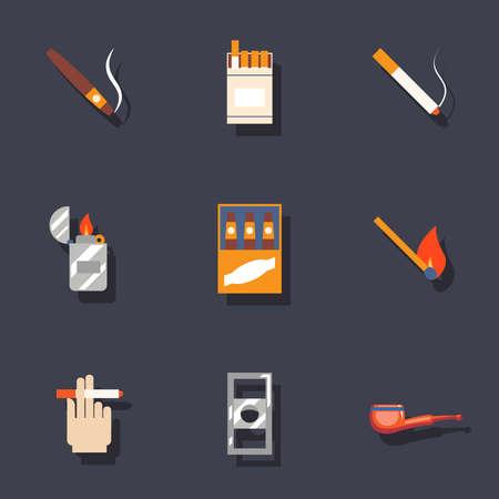ashtray: Smoking icons set vector trendy illustrations isolated Illustration
