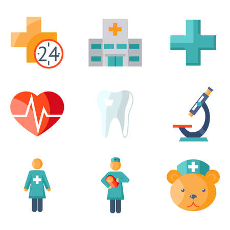 pediatrics: Medical care and health flat icons Illustration